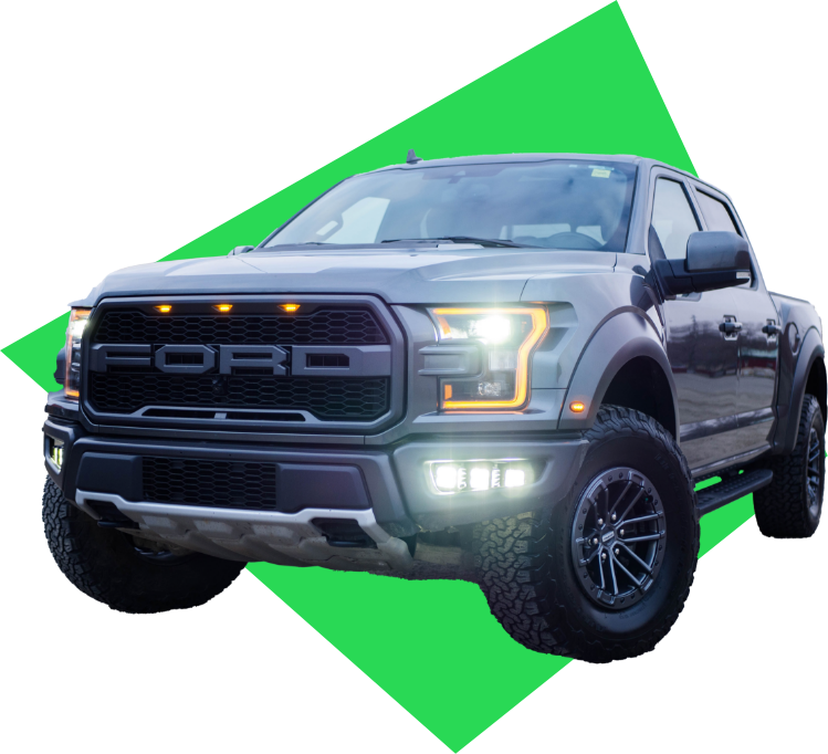 New Ford F150. with headlights on